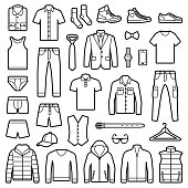 Man clothes and accessories collection - fashion wardrobe - vector icon outline illustration