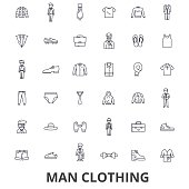 Man clothing, clothes, fashion, wear, shoe, tie, suit, shirt line icons. Editable strokes. Flat design vector illustration symbol concept. Linear signs isolated on white background