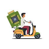 man courier riding scooter with computer processor microchip circuit board CPU concept isolated flat vector illustration