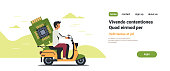 man courier riding scooter with computer processor microchip circuit board CPU concept isolated flat horizontal copy space vector illustration