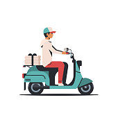 man courier riding scooter with pizza boxes fast food delivery service concept isolated flat vector illustration