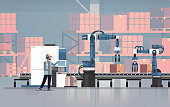 man engineer controlling conveyor belt line robotic hands factory automation production manufacturing process concept warehouse storage interior horizontal vector illustration