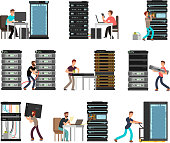 Man engineer, technician working in server room. Digital computer center support, data storage. Vector cartoon characters set. Illustration storage system, security and diagnostic support technology