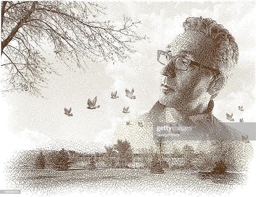 Man Enjoying Nature Etching : Vector Art