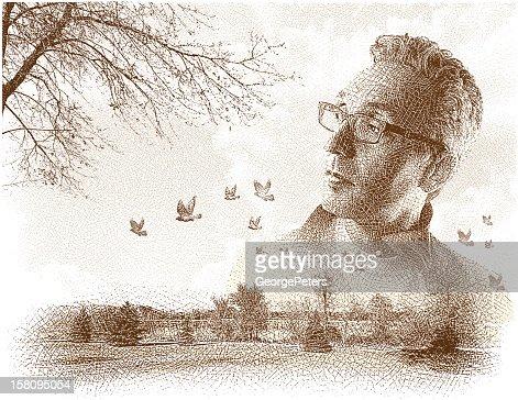 Hombre disfrutando de la naturaleza grabado : Arte vectorial