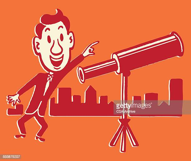 Man Excited about What He Saw Through his Telescope