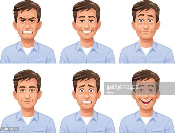 Expressions du visage homme