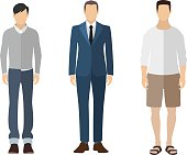 Three men flat style icon people figures in different views like: man in casual dress, business man dress, pleasure clothes