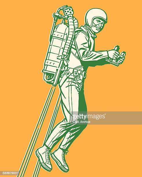 Man Flying With Rocket Pack