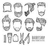 Man hairstyle. Set of hand-drawn sketches. Barbershop.