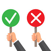 Man hand hold signboard green check mark and red X. Business concept. Right and Wrong for feedback. Vector illustration