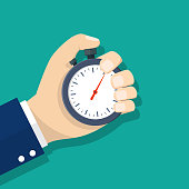 Man hand holding stopwatch. Time management concept. Time control, planning. Vector illustration in flat style