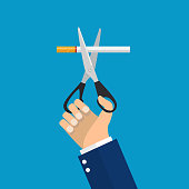 Businessman Hands holding scissors cut a cigarettes. Vector illustration in flat style