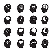 simple vector illustration design of man thinking head set