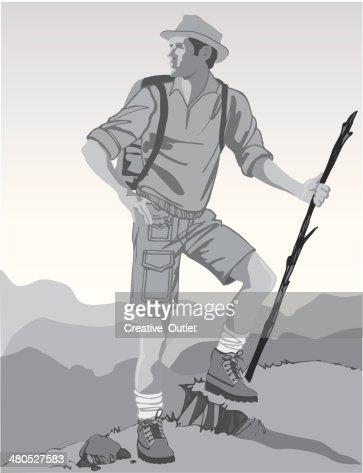 Man Hiking : Vectorkunst