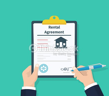 Mann Halten Vereinbarung Formular Mietvertrag Klemmbrett In Der Hand