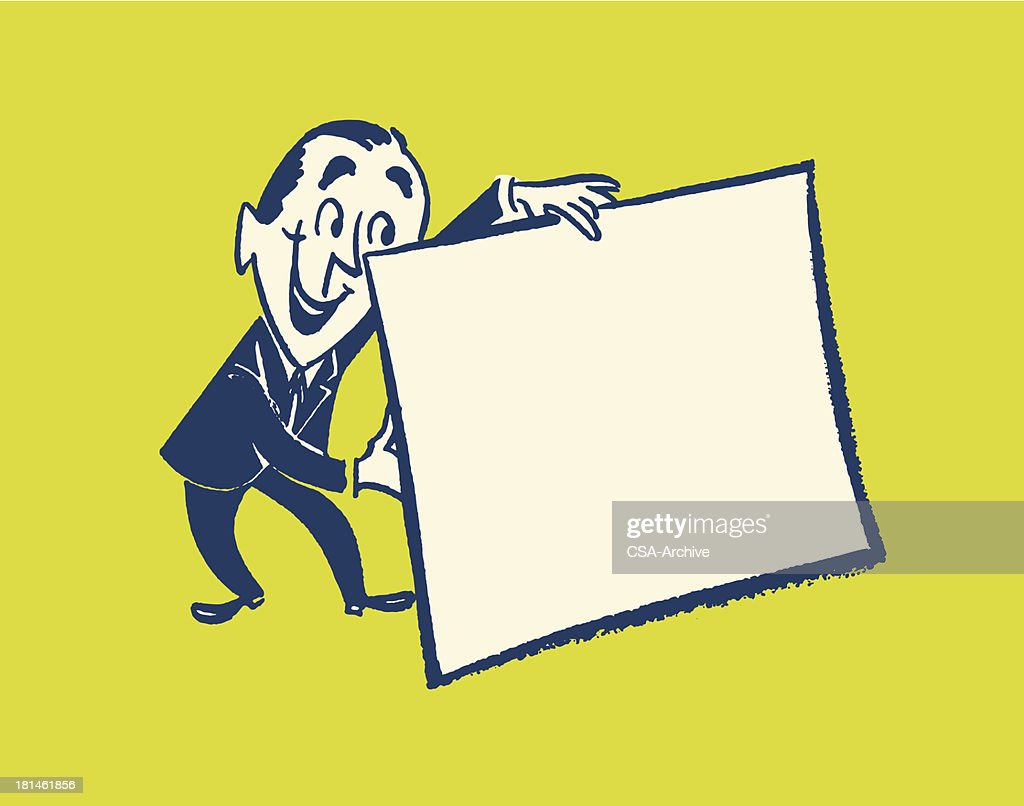 Man Holding Blank Sign : Vector Art