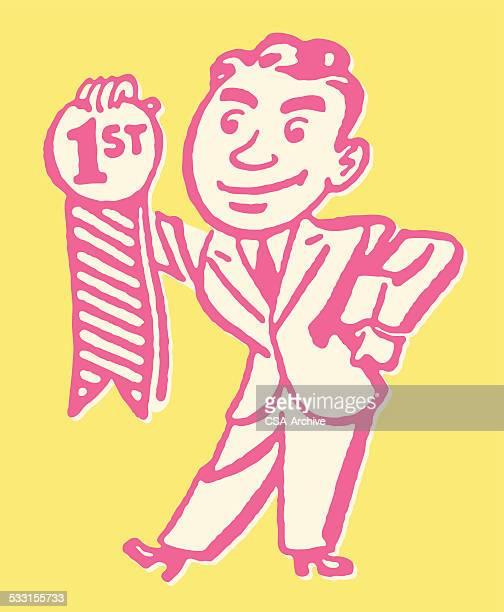 Man Holding First Place Award Ribbon