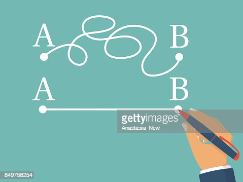 Man holding  pen in hand leads a drawing line from point A to point B : arte vetorial