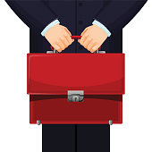 Man holding red budget briefcase in his hand, wearing official suit and standing still, businessman on vector illustration isolated on white
