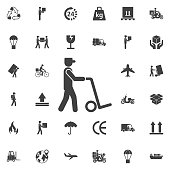 Man icon with trolley. vector illustration. Set of Post delivery icons