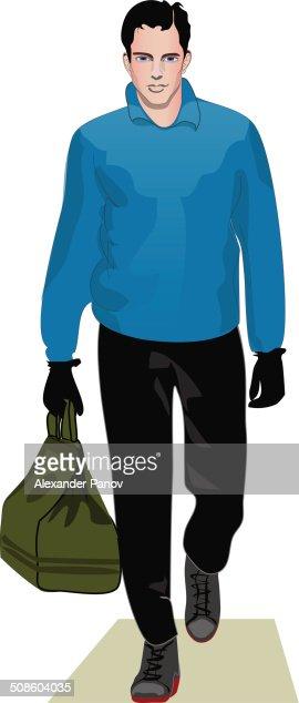 Hombre en azul Jersey : Arte vectorial