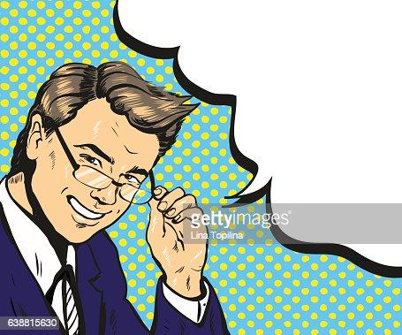 Man in glasses pop art speech bubble vector illustration : stock vector