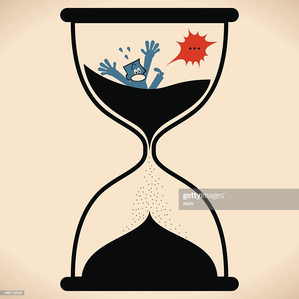 sand timer art. man in hourglass falling through sand timer time running out vector art a