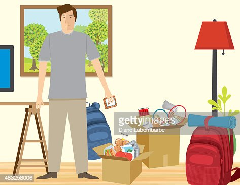 Man In Living Room Filled With Items Packed For Vacation Vector
