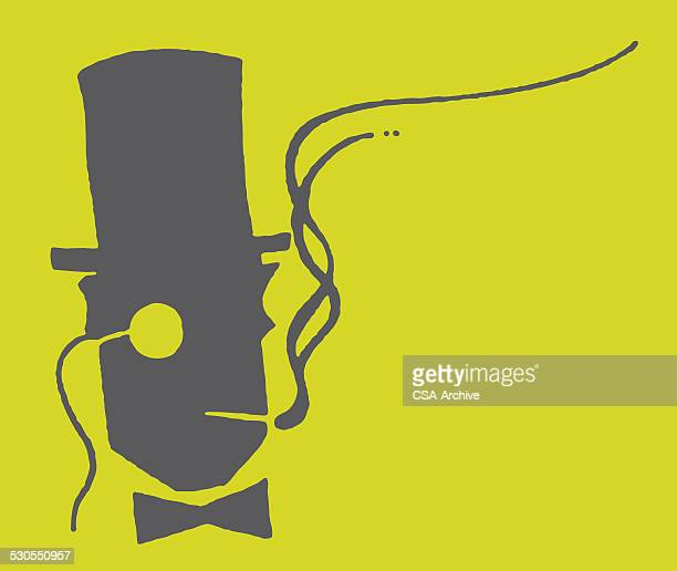 Man in Monocle and Top Hat Smoking