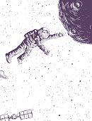 Man in spacesuit flies to planet. Doodle sketch illustration cosmonautics day. Vector drawing isolated