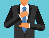 Man in suit is adjusting his tie, vector flat illustration