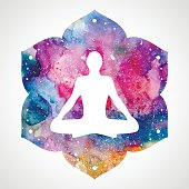 Silhouette of a man in the asana lotus position. Bright watercolor lotus flower. Vector illustration