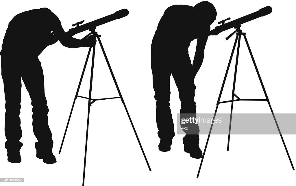 Man Looking Through Telescope Vector Art | Getty Images