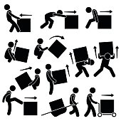 A set of human pictogram representing methods and ways for a man to move a big box. This include many postures and poses such as pull, push, drag, lift, rollover, kick, and moving it with stretcher an