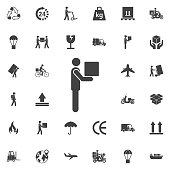Man Moving Box Pictogram Icon Illustration design. Set of Post delivery icons