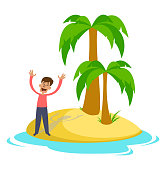 Man on a desert island asks for help, hope for salvation. Vector illustration.