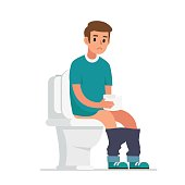 Sad man sitting on toilet and holding paper.  Flat style vector illustration isolated on white  background.