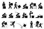 Stick figure pictogram depicts a man carrying, cutting, opening, checking, and throwing away the box. Children taking and playing with the unwanted empty box happily.