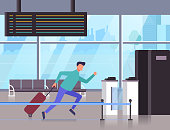 Man passenger character running and late at airplane. Vector flat graphic design cartoon