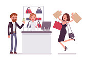 Man paying for shopping. Young happy woman with bags jumping with joy after getting presents, customers in the mall. Vector flat style cartoon illustration isolated on white background