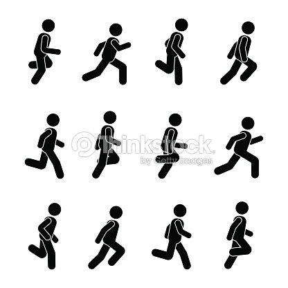 man people various running position posture stick figure vector