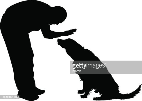 Man Petting Dog Vector Art | Getty Images