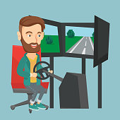 Excited caucasian man playing video game with gaming wheel. Happy smiling gamer driving autosimulator in game room. Man playing car racing video game. Vector flat design illustration. Square layout.