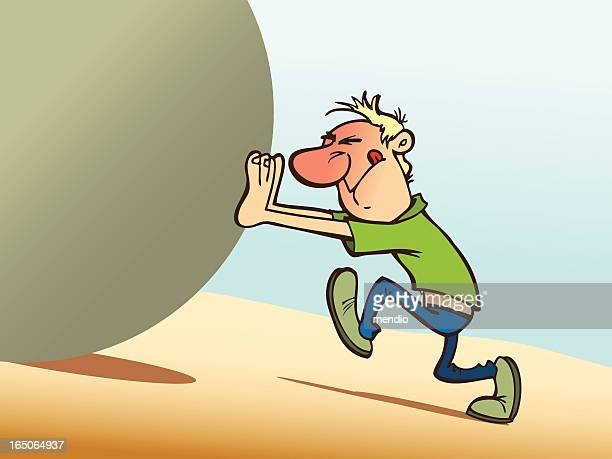 Man pushing upward a giant ball