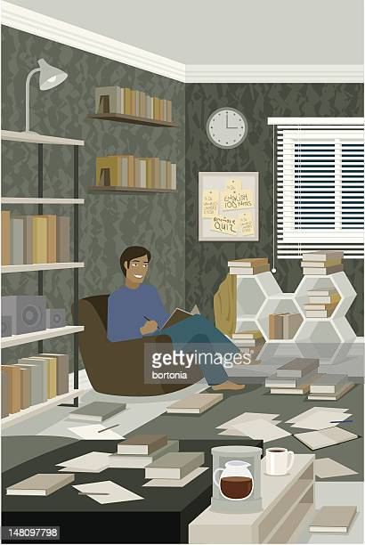 Man Reading Book in Messy Room Covered with Paper