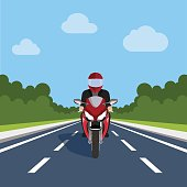 Man Ride Motor Bike on Highway , Sport Motorcycle Over Nature Flat Vector Illustration