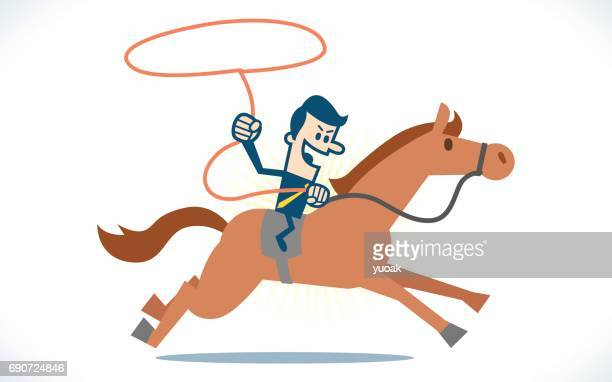 Man riding horse with rope
