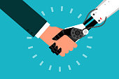 Man shaking hand with robot, flat design vector.