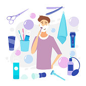 Man Shaving Face with Foam. Skin Care. Vector cartoon illustration. Man with shaving cream on his face and razor in hand. Young man prepping face for daily shaving. Shaving effect.